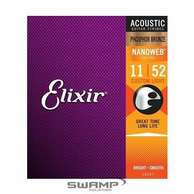 Elixir E16027 Nanoweb Phosphor Bronze Acoustic Guitar Strings Custom Light 11-52 • 16.23£