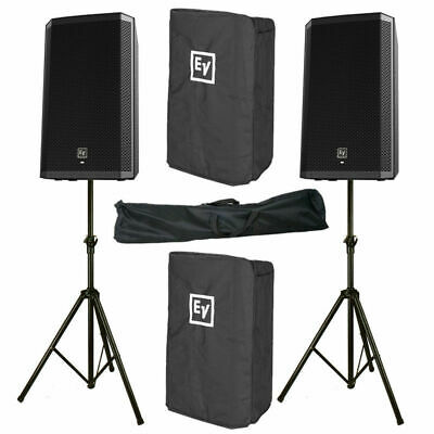 2x EV Electro-Voice ELX200-10P 2400W Active Speaker + Cover + Stand 3yr Warranty • 1,040£