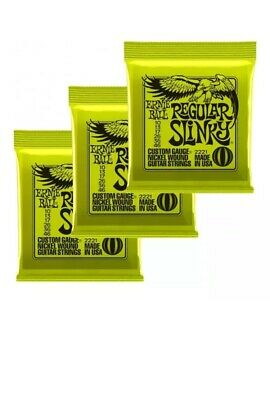 New Ernie Ball 3221 Regular Slinky 2221 Electric Guitar Strings Offer X3 Sets • 15.99£