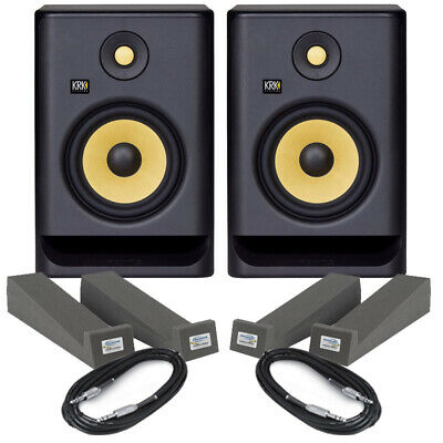 KRK Rokit RP7 G4 Pair Powered DJ Studio Monitor Speakers Isolation Pads & Cables • 341.50£