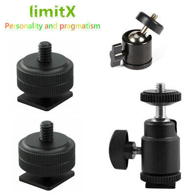 Hot Shoe Mount To 1/4  Shoe & 360 Swivel Mini Ball Head Mount Adapter For Zoom • 5.79£