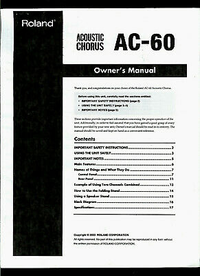 Copy* Roland AC-60 Acoustic Chorus Compact HP Guitar Amplifier Owner's Manual • 15.42£