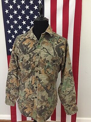 Vtg Avid Outdoor Oak Camo Denim Flannel Shirt Men's LARGE Camouflage L/s 1b870 • 22.75£