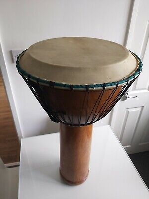 African Large Djembe Carved Wooden Drum. • 50£