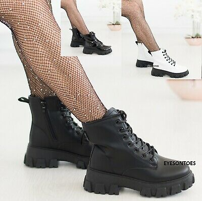 Ladies Icon Retro Womens Ankle Zip Chunky Block Sole Lace Up Punk Goth Boots • 23.95£