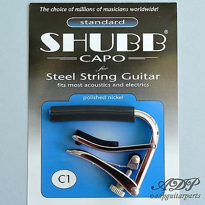 Capo Shubb C1 Electric/Acoustic Guitar Capo, Nickel Finish Close-Out • 30.88£