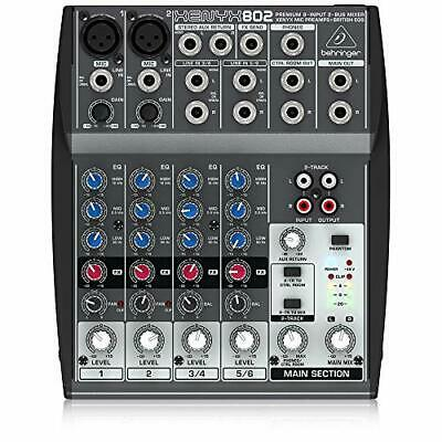 Behringer Xenyx 802 8 Input 2 Bus Analog Mixer With Mic Preamps AUX • 62.99£