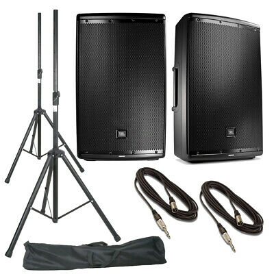 JBL EON615 Pair 2-Way Active Powered PA Speaker + Stands, Stand Bag & Cables • 847.50£