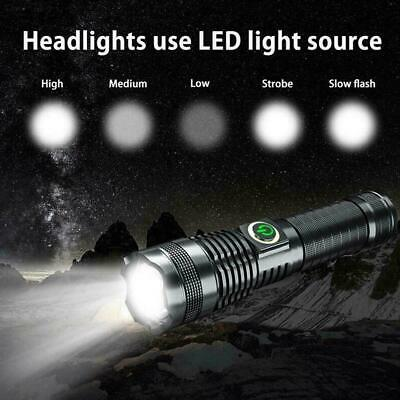 Rechargeable XHP70 Most Powerful LED Flashlight USB Zoom Outdoor Portable H5P4 • 12.38£