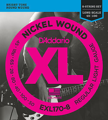 D'addario Exl170-8 Xl Nickel Round Wound Bass Strings For 8 String Bass • 23.12£
