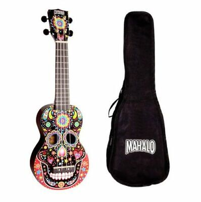 Mahalo Soprano Ukulele Day Of The Dead Art Skull With Bag - BRAND NEW • 35£