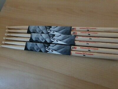 3 Pairs Vic Firth 7A Drum Sticks VF-7A Wood Tip Hickory American Classic • 5£