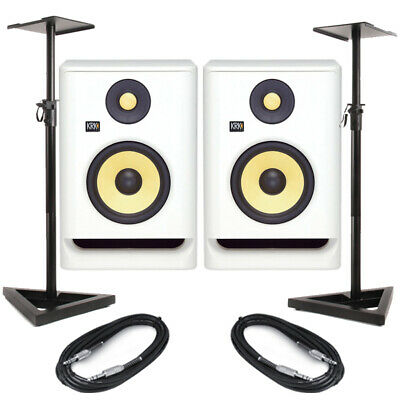 KRK Rokit RP8 G4 White Noise (Pair) With Stands & Cables