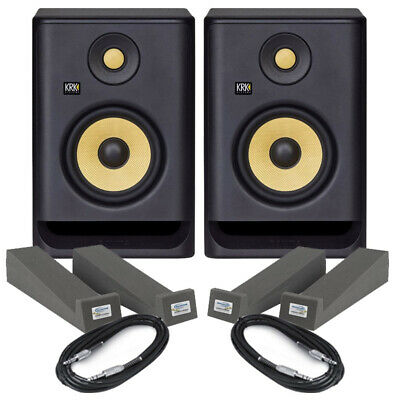 KRK Rokit RP5 G4 Pair Active DJ Studio Monitor Speakers, Isolation Pads & Cables • 279£