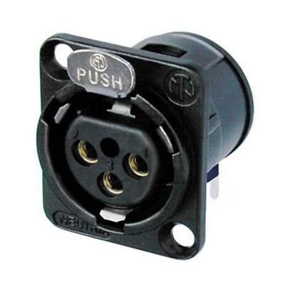 Neutrik NC3FD-H-B Receptacle D Series 3 Pin Female XLR- PCBH - Black/Gold 1141 • 3.07£