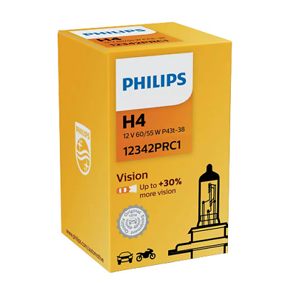Philips H4 Vision 472 30% More Vision Car Headlight Bulb 12342PRC1 • 8.07£