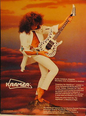 1988 Kramer NightSwan Electric Guitar Created By Vivian Campbell Print Ad • 4.76£