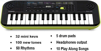 Casio SA-46 Mini Keyboard (Green Shell Base) H51, W446, D208cm  • 50.49£