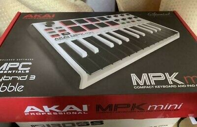 Akai Professional USB MIDI Keyboard Controller 8 Pad MPK Mini MK2 WHITE New • 279.06£