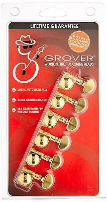 Grover 406G6  Mini Rotomatic Locking Tuners 6 In-Line Gold Finish • 53.23£