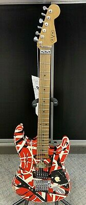 EVH® Striped Series Frankie Electric Guitar Red With Black And White Stripes • 1,502.68£