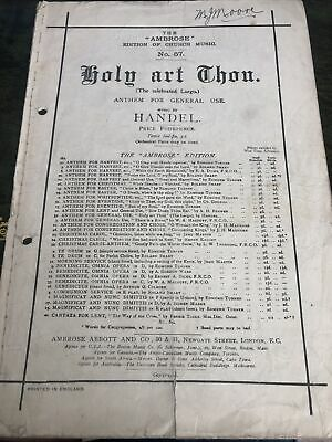 Holy Art Thou. Handel. The Ambrose Edition Of Church Music