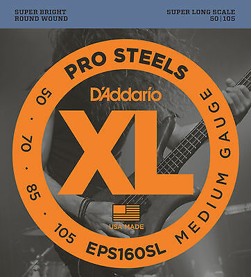 D'ADDARIO EPS160SL PROSTEEL BASS STRINGS, SUPER LONG SCALE MEDIUM 4's  50-105 • 16.59£