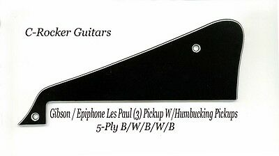Les Paul LP Custom Black 5-Ply Pickguard W/Bracket made for Gibson Project NEW
