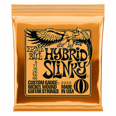 Ernie Ball Hybrid Slinky Custom Gauge Electric Guitar Strings, Nickel, P02222 • 7.08£