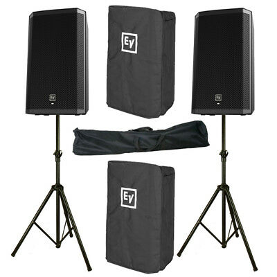 2x Electro-Voice EV ZLX-12P 2000W Powered Speaker + Stand + Cover + 3Yr Warranty • 854£