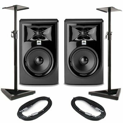 JBL LSR305P MKII Pair 5  Active Studio DJ Monitor Speaker + Stands & Cables Mk2 • 259£