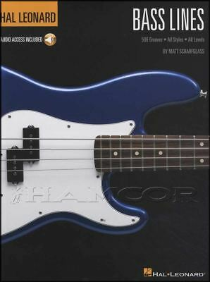 Hal Leonard Bass Lines TAB Music Book with Audio 500 Grooves All Styles (L1)
