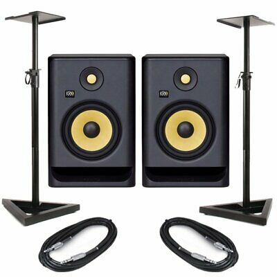 KRK Rokit RP7 G4 Pair Active Powered DJ Studio Monitor Speakers, Stands & Cables • 373.50£