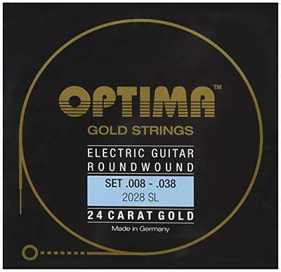 OPTIMA 24 Carat Gold Electric Guitar Roundwound Strings | 2028 SL | .008-.038  • 16.79£
