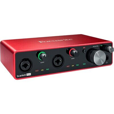 Focusrite Scarlett 4i4 4x4 USB Interface 3rd Gen W/ Headphones & XLR Cables • 209.78£