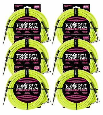 6 PACK Ernie Ball 6057 Instrument Cable, 25', Braided Neon Yellow • 109.02£