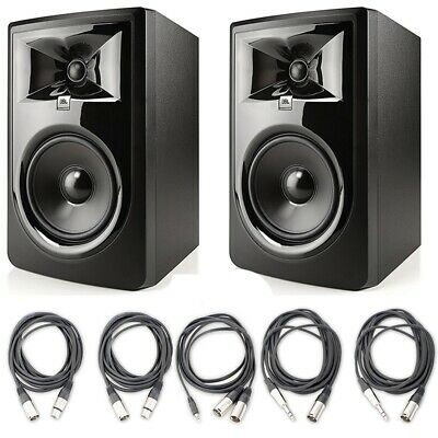 JBL 306P MkII 6.5  Studio Monitoring Speakers, AxcessAbles Cables For Recording • 353.49£