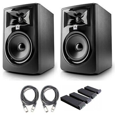 JBL 305P MkII 5' Studio Monitor Speakers W AxcessAbles Cables And Iso Pads • 291.31£