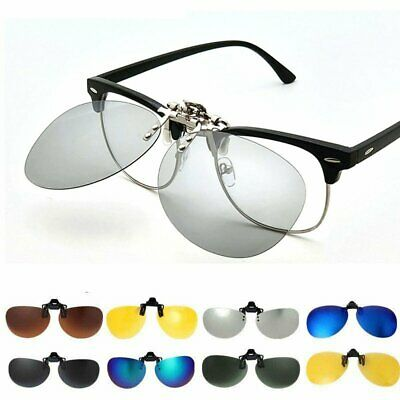 Pilot Polarized Sunglasses Flip Up Clip On Sunglass Men Night Vision Toad Lens • 3.89£