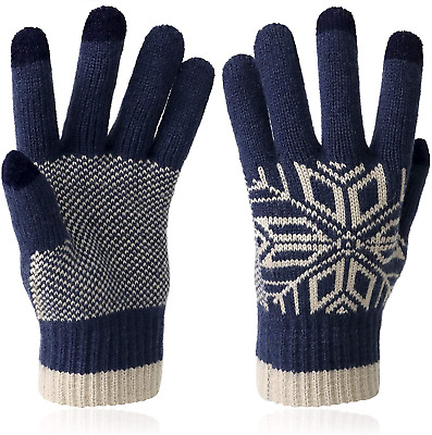VENI MASEE Winter Touch Screen Gloves Snow Flower Printing Keep Warm For Women - • 13.31£
