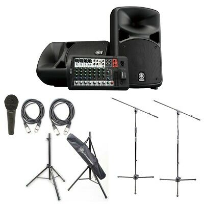 Yamaha STAGEPAS 600BT PA Sys W/BT,Peavey Mic Pack, Cables, Mic & Stands • 749.34£