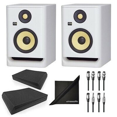 KRK RP5G4WN Rokit Gen 4 5'' Studio Monitors White W/ Isolation Pads & Cloth • 298.44£