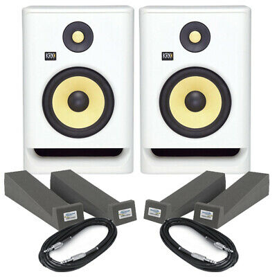 KRK Rokit RP7 G4 White Noise (Pair) With Isolation Pads & Cables • 353£