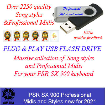 PSR SX 900 Song Styles and Midis, Plug and Play USB Flash Drive new for 2021