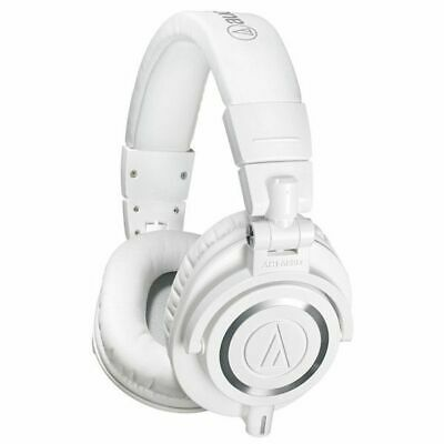 Audio Technica ATHM50X White Studio Monitor Headphones + Case & Cables ATH-M50X • 133.50£