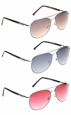 Mens Womens Classic Vintage Chrome Metal Pilot Sunglasses Tinted Red Grey Brown • 12.99£