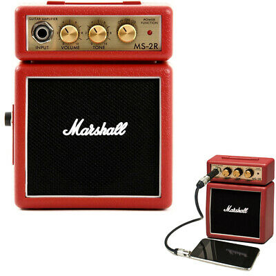 Marshall MS-2R Red Portable Micro Amplifier Amp Speaker F/ Guitar/iPhone/Samsung • 33.20£