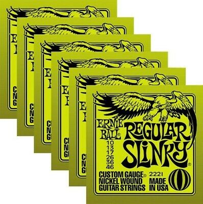 6 SETS! Ernie Ball Regular Slinky 10-46 Guitar Strings 2221 FREE PEG WINDER! • 21.67£
