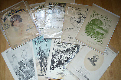 Large Selection of Decorative Piano Sheet Music, late 19th / Early 20th C.