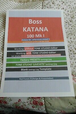 Boss KATANA 100 - Guide to FX & Presets   + TEMPLATE (Secured PDF)